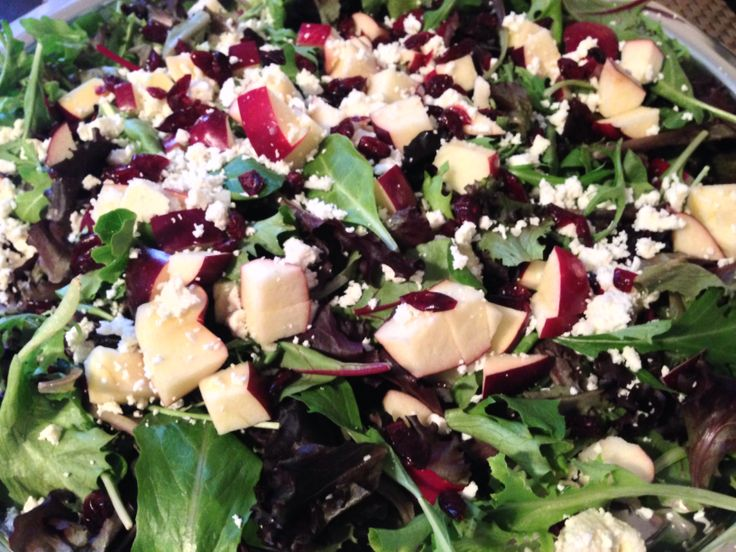 Arugula spinach salad with red apples, cranberries and goat cheese!