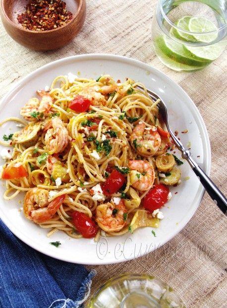 Spaghetti with Shrimp, Artichokes, and Feta