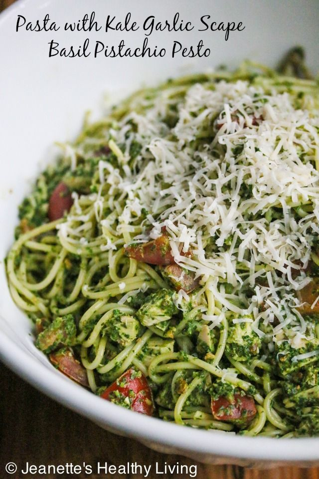 Pasta with Kale Garlic Scape Basil Pesto © Jeanette's Healthy Living ...