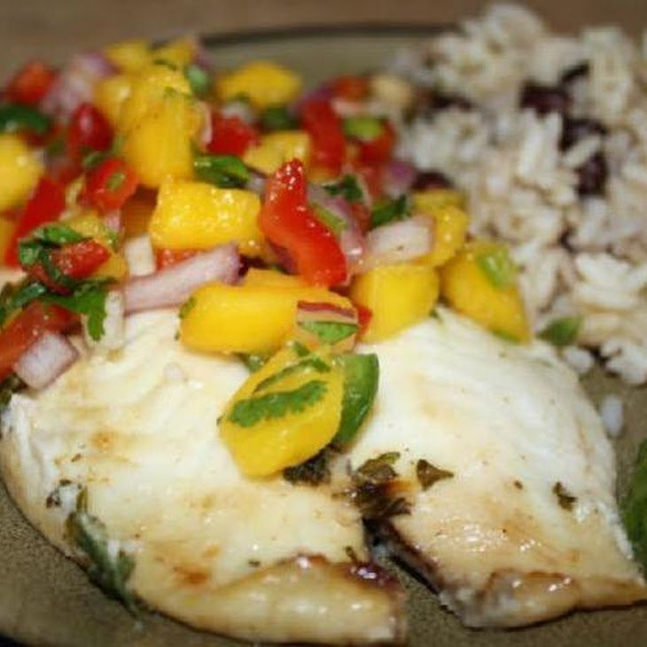 Grilled Tilapia with Mango Salsa Recipe | Noms | Pinterest