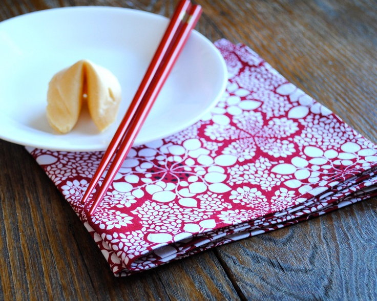 Lotus Leaf Napkin Folding : Lucky Red Napkins SET of 4  Dinner Table Decor  Lotus Leaf White Red