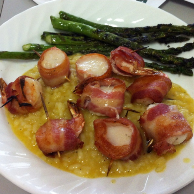 Grilled asparagus, butternut squash risotto, and bacon wrapped shrimp ...