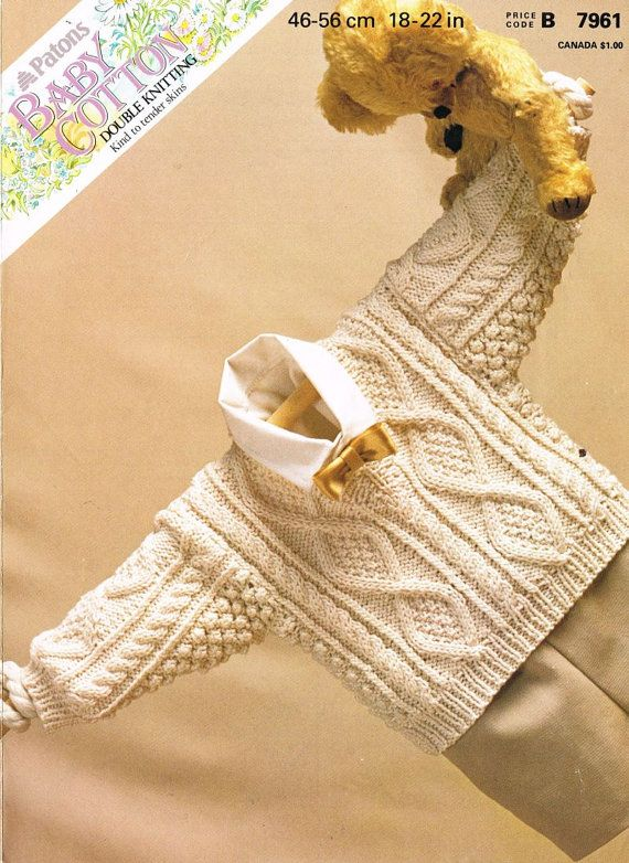 Patons 7961 baby jumper vintage knitting pattern PDF instant download