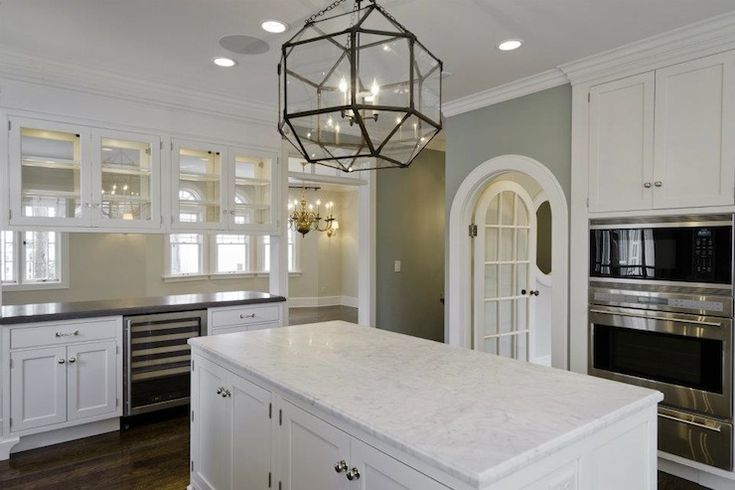 Cameo Homes: Blue gray walls paint color, Suzanne Kasler Large Morris Pendant in Clear Glass, creamy ...