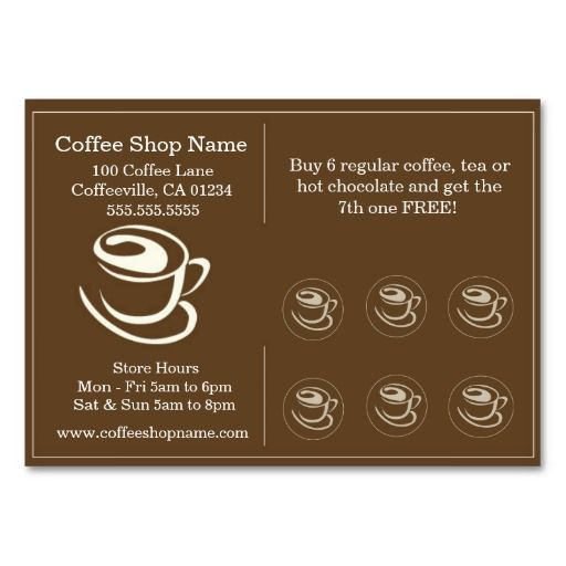 Coffee shoppe punch cards business card