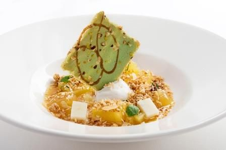 Spring Rosemary Shrager menu 2014 - Pressed pineapple, coconut and lime jelly, coconut sorbet and granola