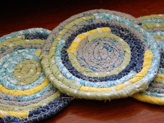 Fabric Coiled Coasters #etsy #fabric | Great stuff from Etsy | Pinter ...