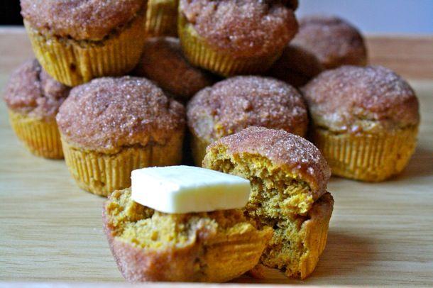 whole wheat pumpkin doughnut muffins