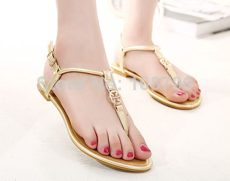 2014 New Ankle Strap Summer Shoes Tong Flat Sandals For Women Beach