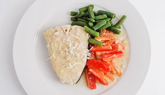 Coconut Halibut With Green Beans 1 tsp Coconut Oil 2 cloves Garlic ...