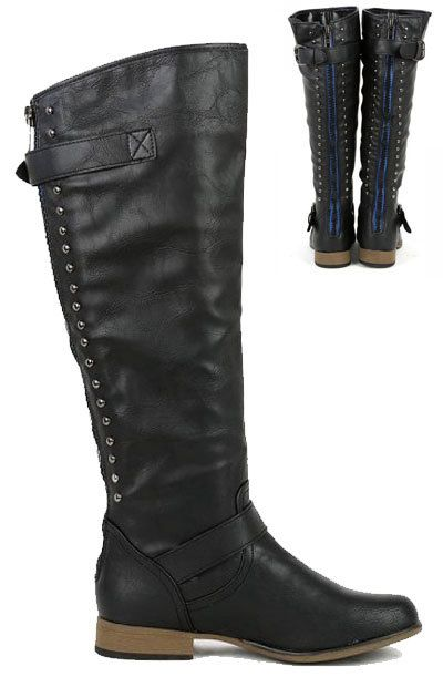 studded knee high electric blue zipper boots flat