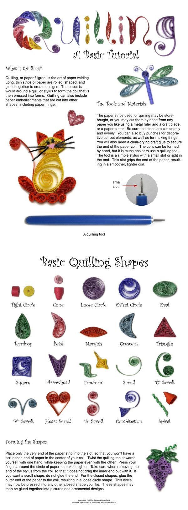 Basic Quilling Tutorial by ~johannachambers on deviantART - Can't many of these be used with extruded polymer clay?  #Polymer #Clay #Tutorials