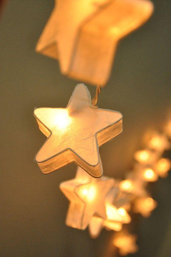 35 bulbs handmade white mulberry paper stars lanterns for Paper star lamp