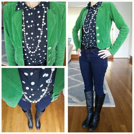 Green blazer #express #polkadots shirt  skinny jeans black riding boots