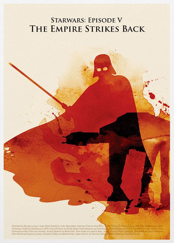 Epic empire strikes back poster x water color by Marcus