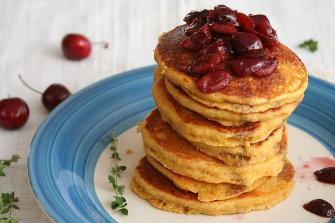 cornmeal pancakes with cherry compote | The Way the Cookie Crumbles