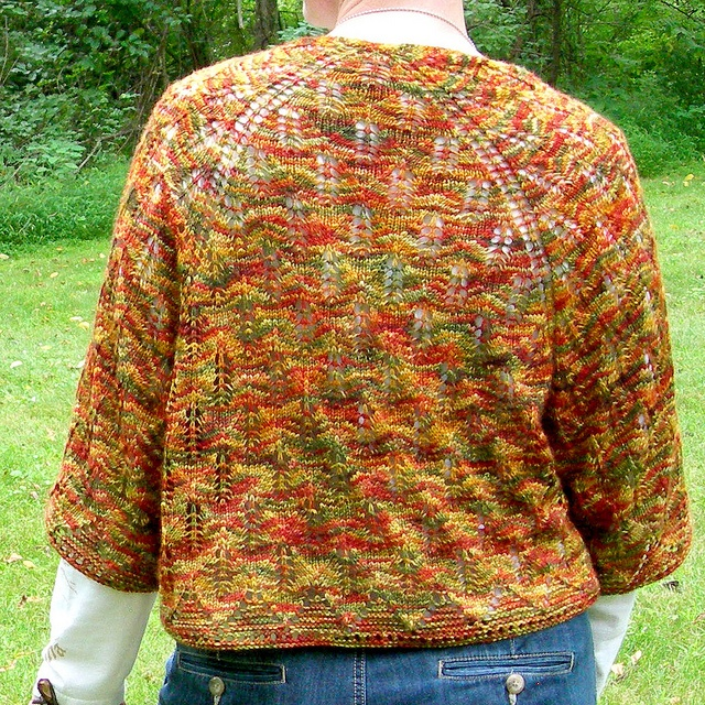 I love the shape and color of this shawl.  Autumn Waves by Knitsophrenic, via Flickr