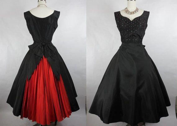 1950s Vintage Black Evening Gown with Rhinestones