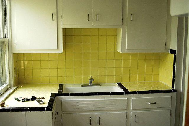 yellow tile kitchen retro kitchen 1 pinterest