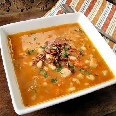 spicy take on the classic bean with bacon soup includes white beans ...