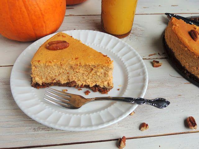 Pumpkin Cheesecake with a Pecan Gingersnap Crust