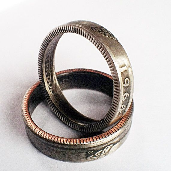 1964 Quarter Ring with Patina 50th Birthday Gift Coin Jewelry