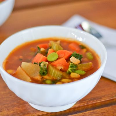 Vegetable Soup with Kale and Edamame. #food #soups #winter
