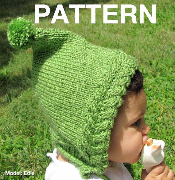 Newborn Pixie Hat Knitting Pattern : Knitting Pattern: Urban baby pixie - hood with pompom ties