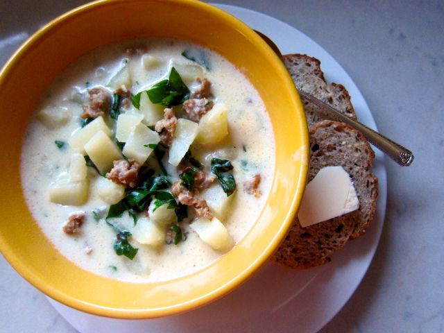 Potato Soup with Sausage & Swiss Chard-- hot and hearty