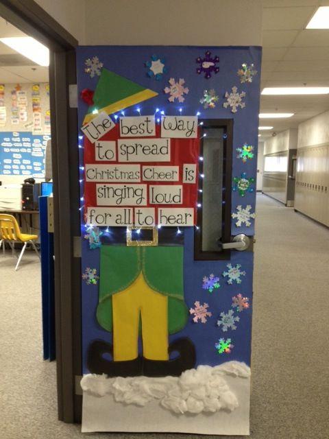 Christmas elf classroom door decoration for Elf door decoration
