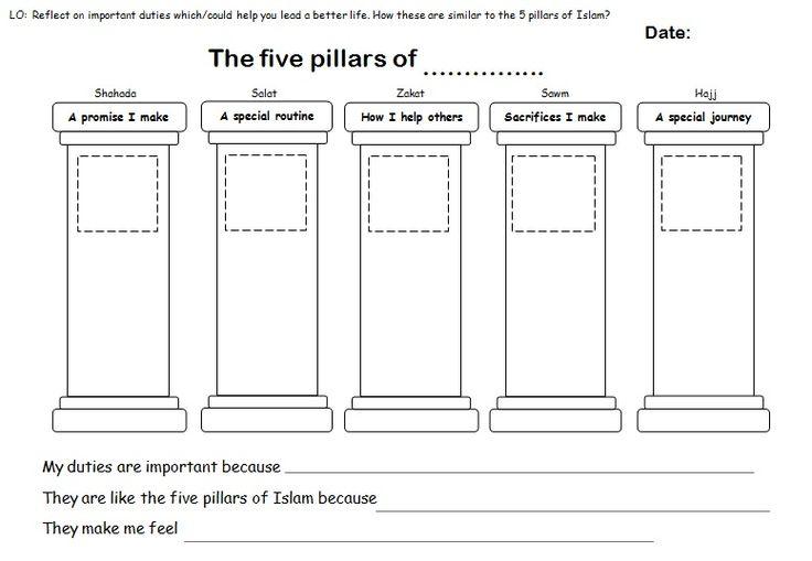 Printables Five Pillars Of Islam Worksheet five pillars of islam worksheet plustheapp primary re 5 islam
