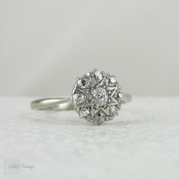antique cluster engagement ring mine cut