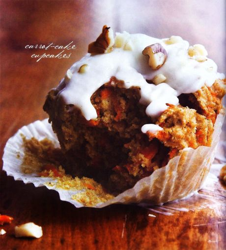 (Less) Healthy carrot cake cupcakes with cream cheese frosting