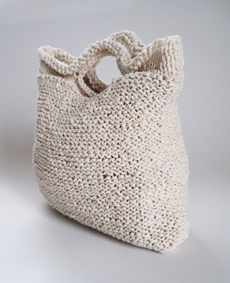 crocheted t shirt yarn tote bag K2tog Pinterest