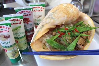 Ginger Chicken with Lemon Grass, Snow Peas and Almonds