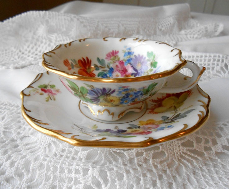 Antique Oval Meissen Mark Demitasse Cup & Saucer - Floral.