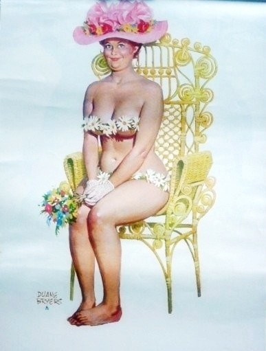 Hilda - smiles for the camera in flowery hat, sitting on fancy yellow chair