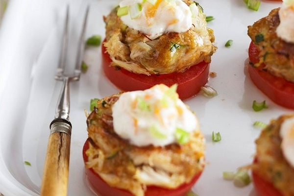 Zucchini Stuffed Crab Cakes with Tomato–Sour Cream Sauce! http://www ...