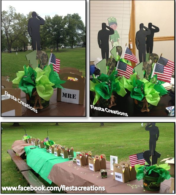 Army birthday party centerpieces god bless america and for Army party decoration