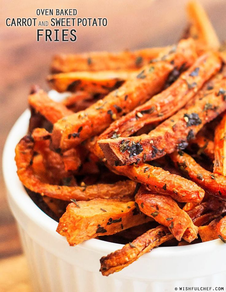 Oven Baked Carrot and Sweet Potato Fries.