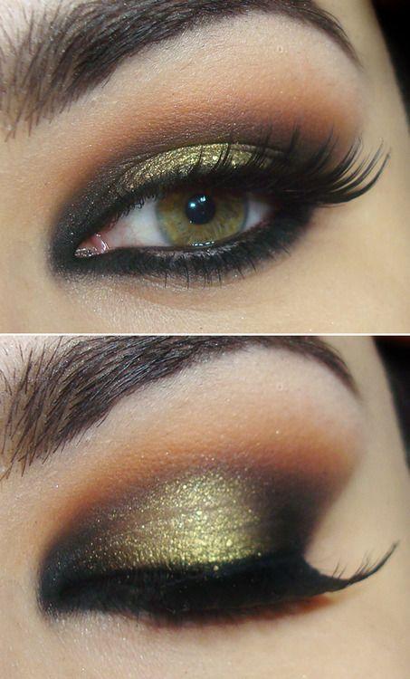 Dark golden and brown smokey eye makeup w/ a bit of sparkles.
