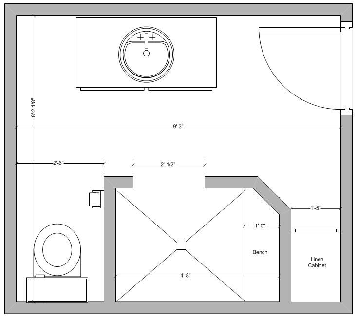 Small guest bath layout idea bathroom remodel pinterest for Bathroom designs 6 x 8