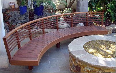 Outdoor Living Curved Wooden Bench Outdoor Living Space 400 x 300