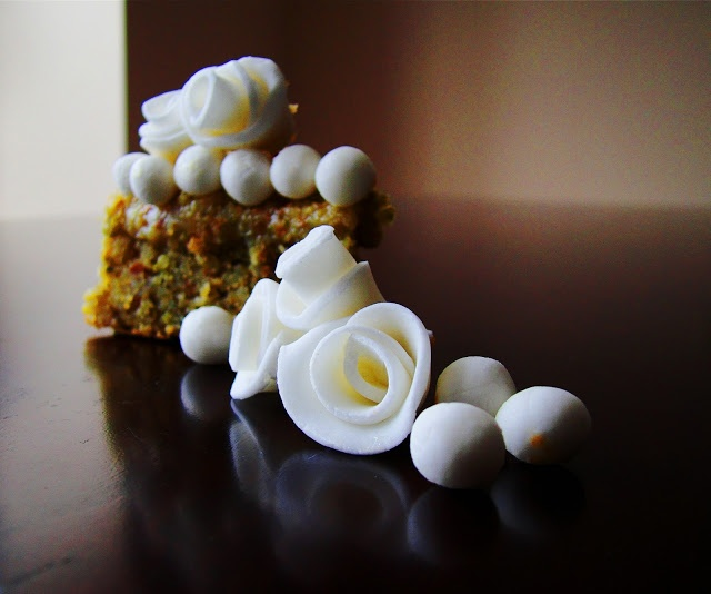 fg: pistachio cake with pistachio brigadeiro filling...