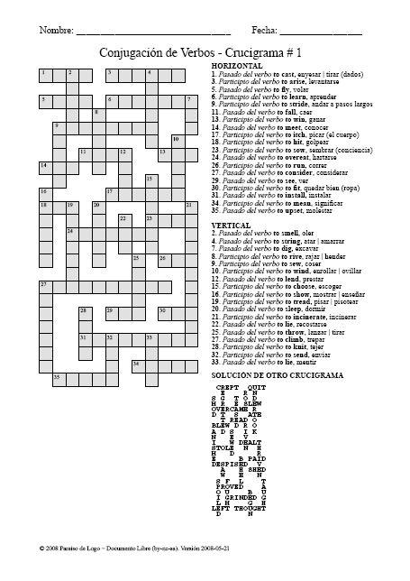 crucigrama verbos pasados vocabulario pinterest. Black Bedroom Furniture Sets. Home Design Ideas