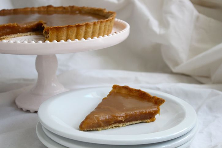 Salted Butter Tart--essentially this is a pool of caramel contained by ...