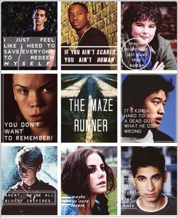 Quoting the characters, The Maze Runner | The Maze Runner ...