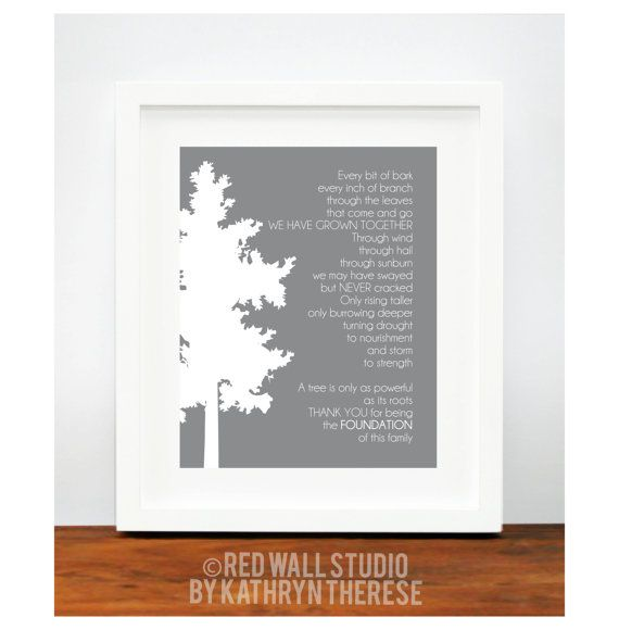Wedding Gifts For Parents And Grandparents : Gift for Grandparents - Family Tree Art Print Poem - Gift for Grandma ...