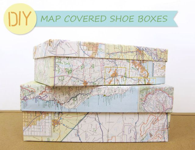 Need an easy, inexpensive, and decorative project? Cover shoe boxes in maps to make cute storage containers! What a creative idea!