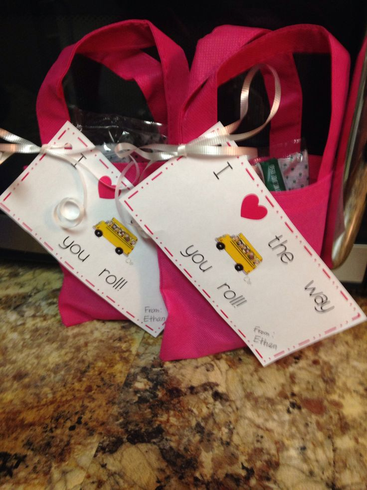 Valentine's for school bus drivers. I placed a cinnamon roll in the ...